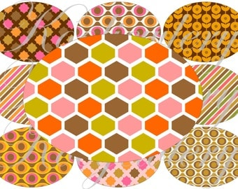 Pink and orange large oval for belt buckle and more digital collage sheet No.1606