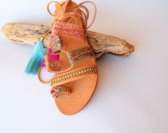 JUST ARRIVED! Marrakesh- Leather Outer Sole/ lace up gladiator sandals/Real leather sandals/Greek sandals/Flat sandals/Tie up sandals