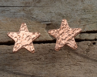 Sterling silver copper star post stud earrings, little hammered star, mix and match with ear jackets, unusual celestial artisan jewelry