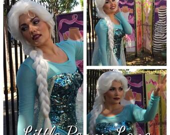 Elsa Frozen Adult Costume Wig Lace Front Parks Style Version