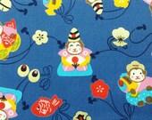 2663D - 2016 Lucky Monkey Fabric in Steel Blue, Animal Fabric, Metallic Print Fabric