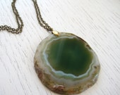 SALE - Round Shaped Green Crystal Agate Slice Pendant Necklace