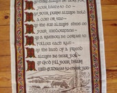 """Irish Blessing """"May there always be work for your hands to do"""", Souvenir Tea Towel Irish Linen  29x19 in."""