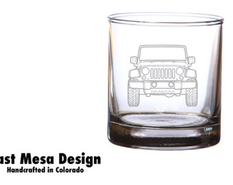 Jeep etched whiskey glass