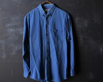 Vintage Shirt Denim Blue and White Stripe Oxford From Nowvintage on Etsy