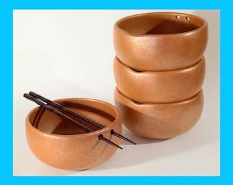 Charming Set of 4 Pottery Bowls holds 3 c. each, Rice Bowls, Noodle Bowls, Soup Bowls, Handbuilt Micaceous Pottery Bowls, 3 cups