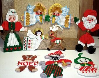 Plastic Canvas Christmas Ornaments, Set of 8 Handmade, Vintage Needlepoint, Christmas Colors, Santa Claus, Kid's Decorations