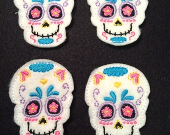 Sugar Skull Skeleton Mexican Day of the Dead Embroidered Felt Applique