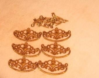 Set of 6 Antiqued Fancy Cast Brass Drawer Handles