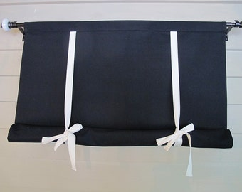 Black Shade with White Ties 36 Inch Long Stage Coach Blind Tie Up Curtain Swedish Roll Up Shade