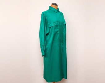 Rodier - emerald green satin shirt dress - made in France - small/medium