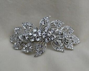 Rhinestone Bridal Hair Clip / Barrette / Wedding Hair Clip / Victorian Inspired  Barrette / Downton Abbey / Rhinestone Hair Clip