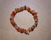 Red Agate Bracelet, Gemstone Chip Beads on Elastic Cord in 2 Sizes, Stretch Bracelet, Protection Stone, Stress Relief Stone, Good Luck Stone