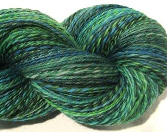 Handspun yarn, Terrapin Station, DK to light worsted weight, 2 ply, 576 yards, wool yarn, knitting supplies, green yarn,  crochet supplies