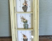 Vintage Shadow Box, Flowers Shadow Box, Shabby Decor, Three Shelf, Front Glass Box, Chipped Paint, Yellow Wood Frame, Wall Decor, Unique