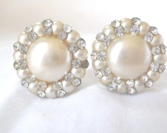 Vintage Clip Earrings, Vintage Earrings, White Beads, Rhinestones, Womens Accessories, Vintage Jewelry, Large Bead Center, Fashion Jewelry