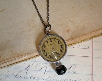 Vintage Watch Face with Faceted Glass Button Long Necklace Repurposed Jewelry