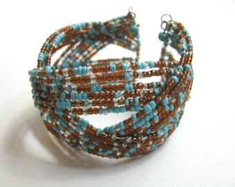 Aqua blue & brown beaded openwork cuff bracelet