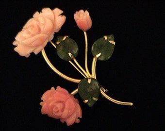 Vintage Carved Coral Roses and Jade Brooch