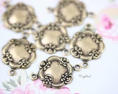 Antiqued Brass Ox 14x19mm Victorian Floral Connectors - 6