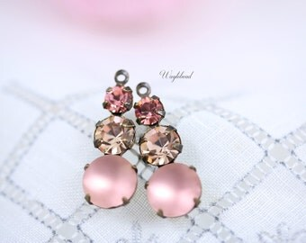 Vintage Glass Dangles Round Set Stones Jewelry Finding 23mm Earring Component Rose peach Light Peach & Frosted Pink - 2