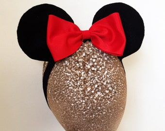 Baby Minnie Ears Girls Stretch Headband Red Polka Dot Bow Mickey Mouse Ears Band Photography and Haloween Costume  Prop