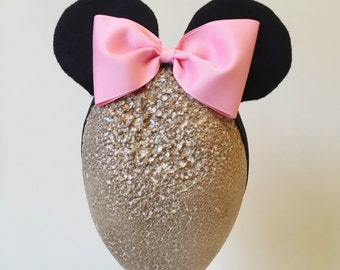 Baby Minnie Ears Girls Stretch Headband Pink Bow Mickey Mouse Ears Band Photography and Halloween Costume  Prop