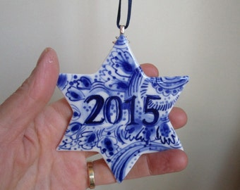 Made to order - Star Year Ornament - Hand painted porcelain  ornament -  Blue and white Dutch Delftware ornament