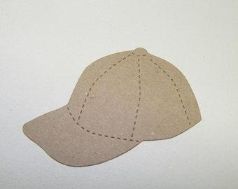 Baseball Hat Kraft Chipboard Die Cut Pack of 4