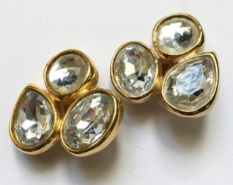 Bold Glitzy Crystal Rhinestone Earrings Faceted Glass Clip On