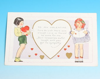Art Deco Valentine Postcard Whitney Made Young Boy and Girl