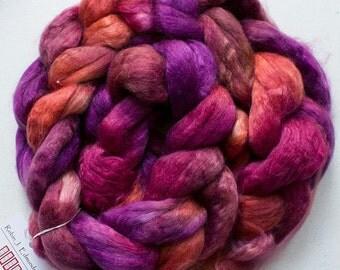 Superwash wool & Tencel Roving, 60/40, 4 oz. - Red Oak