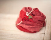 Red Striped Christmas Stretchy Knit Wrap and Headband - newborn baby photo prop