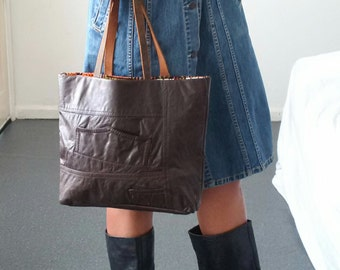 leather bag, recycled leather bag, brown leather bag, leather tote, manbag, leather bag, upcycled leather bag,book bag,grunge