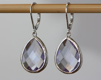 Steel Blue /Light Purple Large Drops, Bridal Earrings, Bridal Shop, Women Fashion, Birthday Gift for Wife, Spring Weddings, Silver Earrings