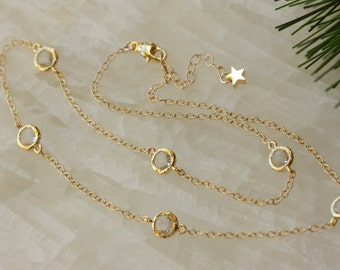 Quartz Glass round Gold Chain Necklace, Bridal Jewelry, Spring Weddings, Spring Fashion, Gold Delicate Jewelry