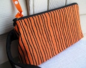 SALE 30% OFF - Halloween Orange and Black Cosmetics Wristlet Bag Zipper Pouch Knitting Notions Project Bag