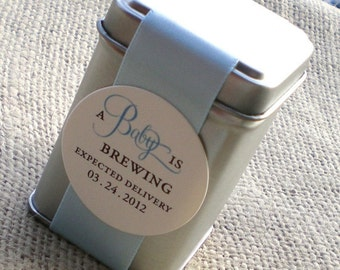 Assembled A Baby is Brewing Tea Tin Favor for Boy Baby Shower
