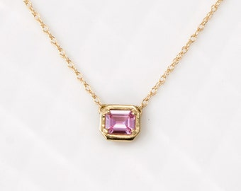 Sweet Little Emerald Cut Pink Sapphire Necklace in 14k Yellow Gold // Pink Gemstone Delicate Layering Necklace // Ready To Ship