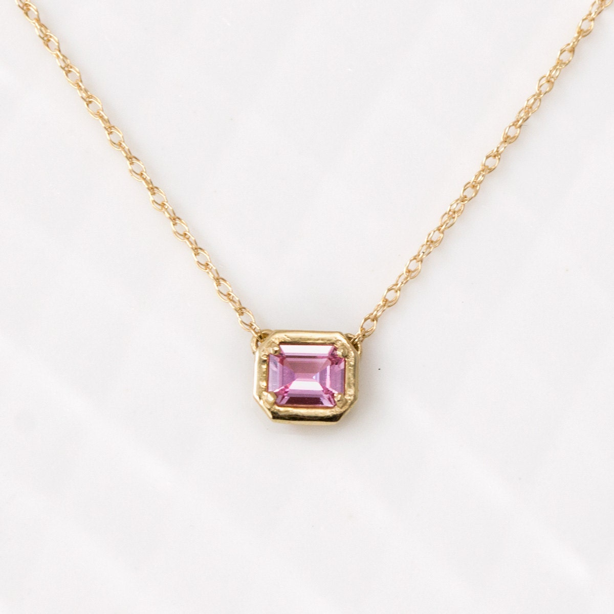 Sweet little emerald cut pink sapphire necklace in 14k yellow for Sapphire studios jewelry reviews