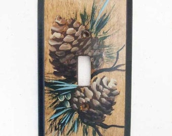 Single Switch Plate with Pine Cones..Wood switch plate  single toggle