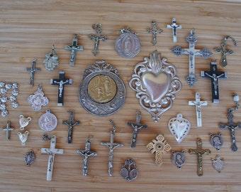 Mega Religious Lot Antique French Cross Reliquary Sacred Heart Destash Bargain