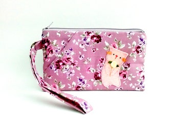 iPhone wristlet cat flower wristlet clutch purse iPhone 6s plus zipper bag purse pink rose vanlentine gift for girlfriend for mother