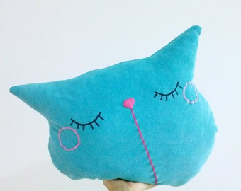 cat pillow, turquoise pillow, decorative pillow, cat throw pillow, pet pillow, animal pillow,cat cushion, gift for him, couch pillow, pillow
