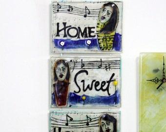 Fuser glass Wall Art, Home Sweet Home glass art, Home art, Home decor .