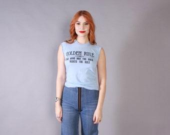 Vintage 70s FEMINIST T-SHIRT / 1970s Cut-Off Sleeveless Light Blue Tank Top Tee