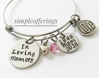 In Loving Memory Bracelet, Memorial Bracelet, Memorial Jewelry, Memory of Mom, Memory of Dad, Remembrance Jewelry, Sympathy Gift,Parent Loss