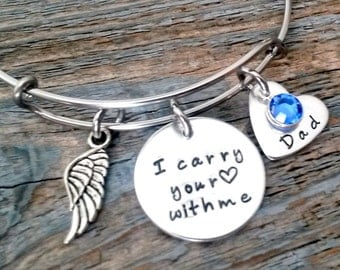I carry your heart with me-Memorial Bracelet, Loss of Father, Loss of Mother, Sympathy Gift, Memorial Jewelry, Charm Bangle, In Memory of