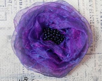 Shimmery Purple Organza Fabric Flower Brooch - Flower Pin - Hat Decoration - Violet Fabric Flower Pin