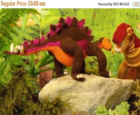HALF PRICE SALE Digital file pdf download knitting pattern - Steve Stegosaurus dinosaur toy knitting pattern pdf